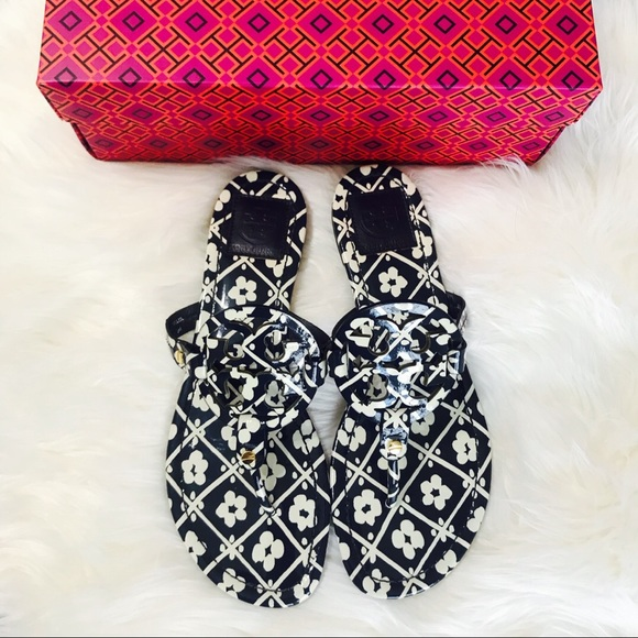 Tory Burch Shoes - {Tory Burch} Navy Floral Patent Miller Sandals